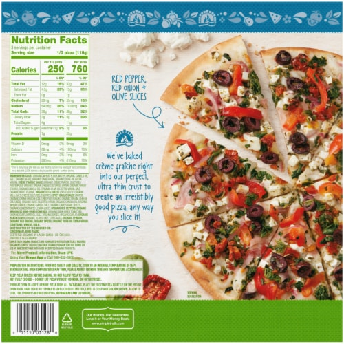 Simple Truth Organic® Ultra Thin Crust Greek Style Vegetable Pizza Perspective: back