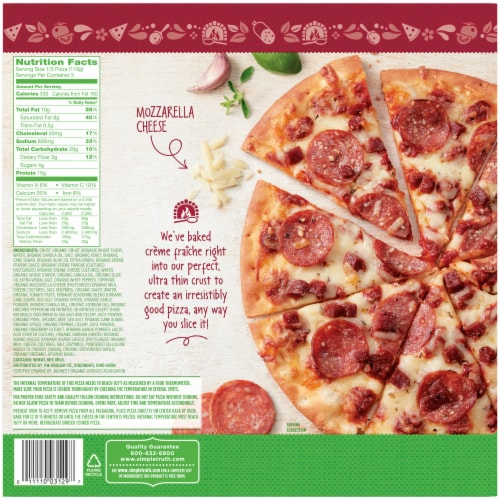 Simple Truth Organic® Uncured Pepperoni Ultra Thin Crust Pizza Box Perspective: back