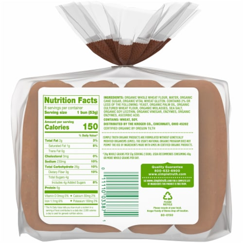 Simple Truth Organic® Whole Wheat Hot Dog Buns Perspective: back