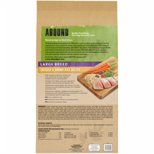 Abound Large Breed Chicken and Brown Rice Dog Food Perspective: back