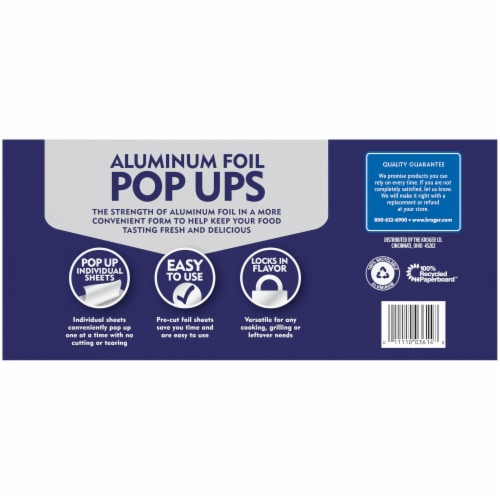 Kroger® Aluminum Foil Pop Ups Individual Sheets Box Perspective: back