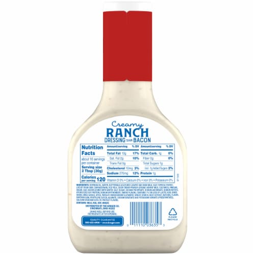Kroger® Creamy Ranch with Bacon Dressing Perspective: back
