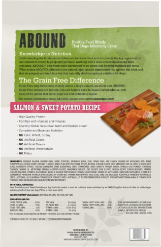 Abound® Grain Free Salmon & Sweet Potato Recipe Adult Dog Food Perspective: back