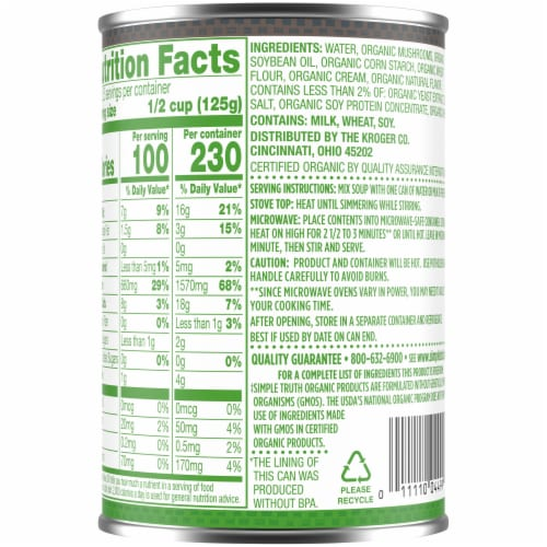 Simple Truth Organic® Cream of Mushroom Condensed Soup Perspective: back