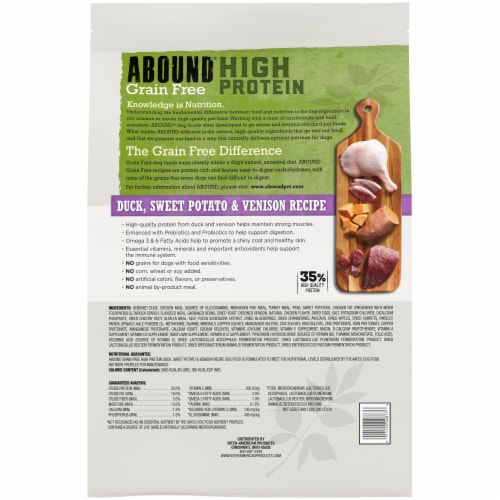 Abound® Grain Free High Protein Duck Sweet Potato & Venison Recipe Dog Food Perspective: back