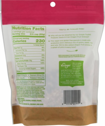 Simple Truth® Probiotic Seeds & Cran Dragon Fruit Granola Perspective: back