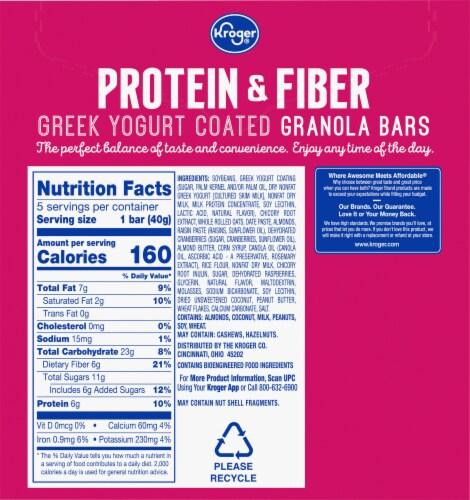 Kroger® Protein & Fiber Raspberry Vanilla Greek Yogurt Coated Granola Bars Perspective: back