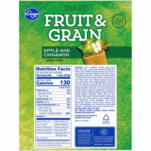 Kroger® Fruit & Grain Apple and Cinnamon Cereal Bars Perspective: back