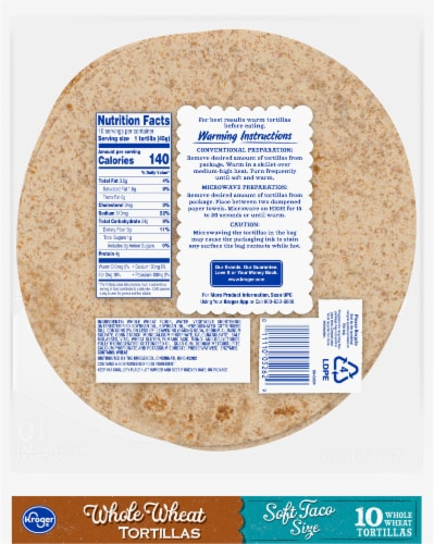 Kroger® Soft Taco Size Whole Wheat Tortillas Perspective: back