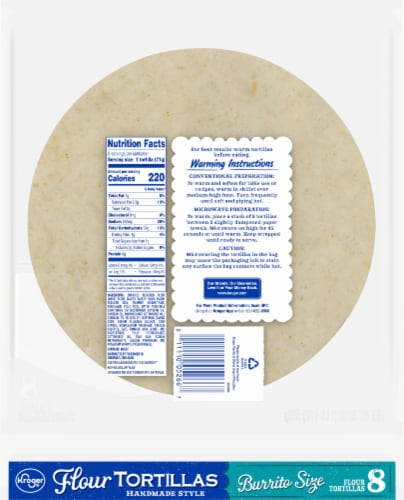 Kroger® Burrito Size Flour Tortillas Perspective: back