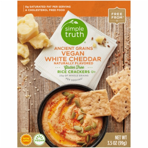 Simple Truth® Ancient Grains Vegan White Cheddar Rice Crackers Perspective: back