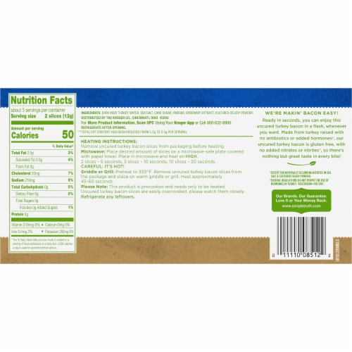 Simple Truth™ Fully Cooked Uncured Hardwood Smoked Turkey Bacon Perspective: back