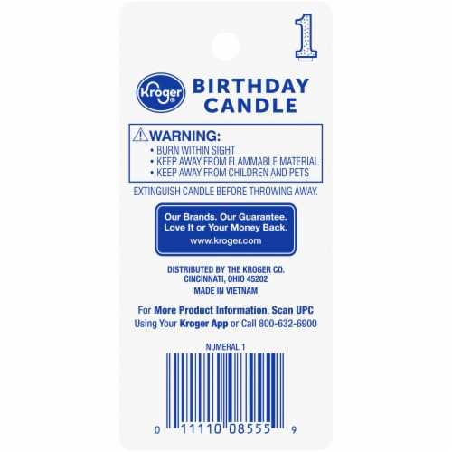 Kroger® Numeral 1 Birthday Candle Perspective: back