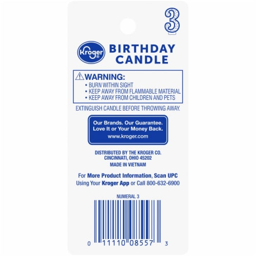 Kroger® Numeral 3 Birthday Candle Perspective: back