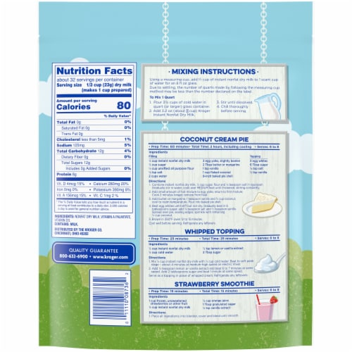 Kroger® Instant Non-Fat Dry Milk Perspective: back