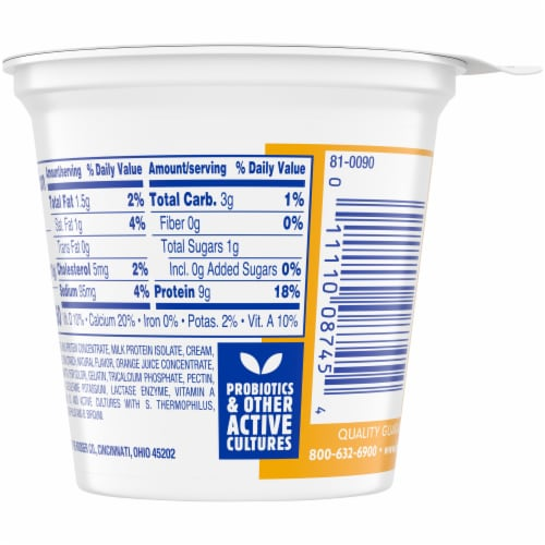 Kroger® Carbmaster® Orange Vanilla Lowfat Yogurt Perspective: back