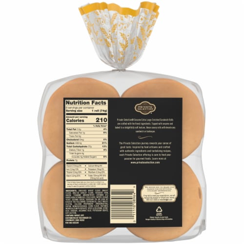 Private Selection® Sesame Extra Large Enriched Sandwich Rolls Perspective: back