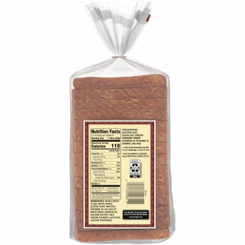 Western Hearth® Sugar Free Wide Pan 100% Whole Wheat Bread Perspective: back