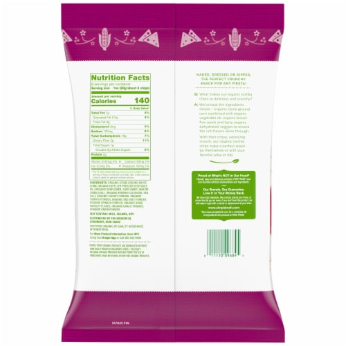 Simple Truth Organic® Veggie & Flaxseed Corn Tortilla Chips Perspective: back