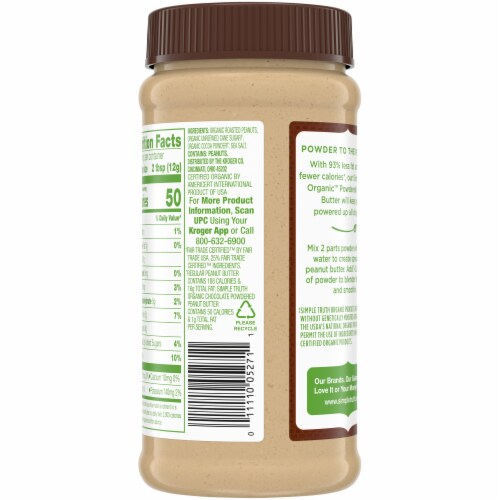 Simple Truth Organic™ Powdered Chocolate Peanut Butter Perspective: back