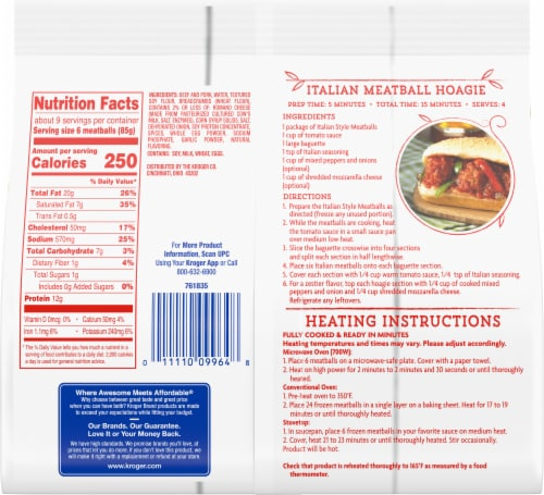Kroger® Fully Cooked Italian Style Meatballs Perspective: back