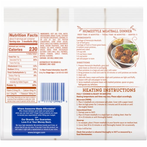Kroger® Fully Cooked Homestyle Meatballs Perspective: back