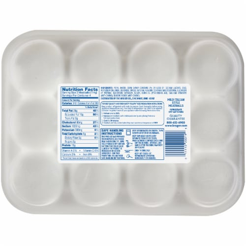 Kroger® Mild Italian Style Pork Meatballs Perspective: back