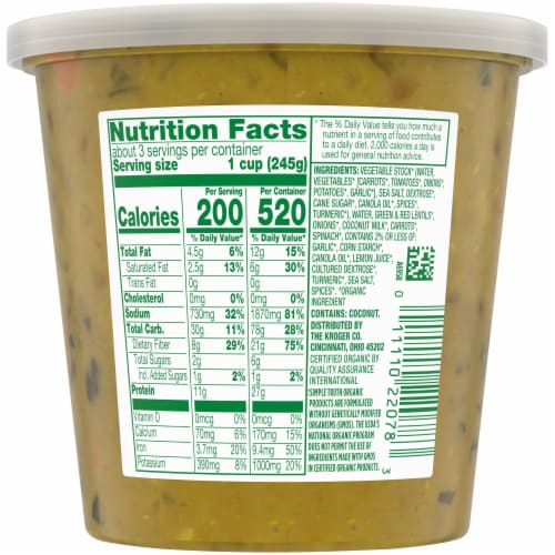 Simple Truth Organic® Lentil Dal Soup Perspective: back