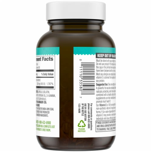 Simple Truth® Non-Synthetic Form Vitamin E Softgels 400IU Perspective: back
