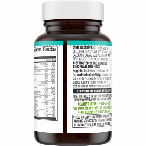 Simple Truth® Iron Free One Daily Multiple Supplement Tablets Perspective: back
