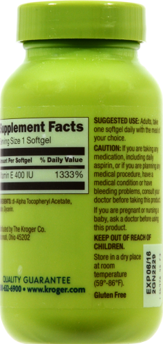 Kroger® Vitamin E Softgels 400 IU Perspective: back