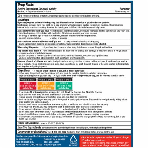 Kroger® Step 2 Stop Smoking Aid Nicotine Transdermal System Patches Perspective: back