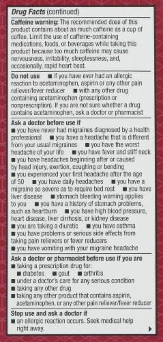 Kroger® Migraine Relief Acetaminophen Caplets Perspective: back