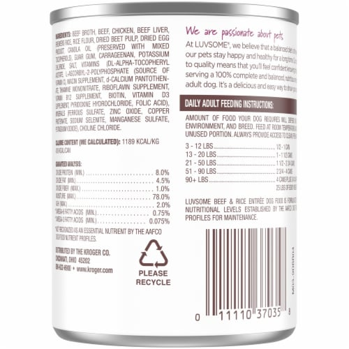 Luvsome® Beef & Rice Entree Wet Dog Food Perspective: back
