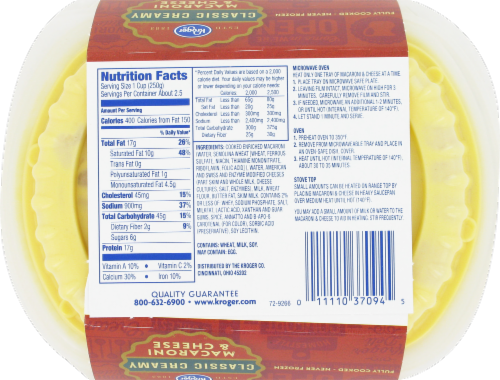 Kroger® Creamy Macaroni & Cheese Perspective: back