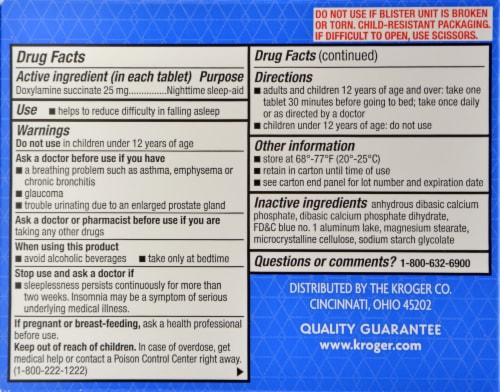 Kroger®  Sleep Aid Tablets Perspective: back