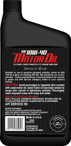 Moto Tech® 10W-40 SAE Synthetic Blend Motor Oil Perspective: back