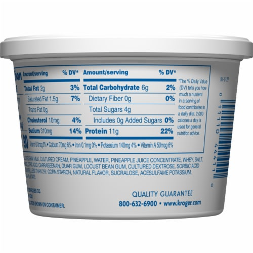 Kroger® Low Fat Pineapple Small Curd Cottage Cheese Perspective: back