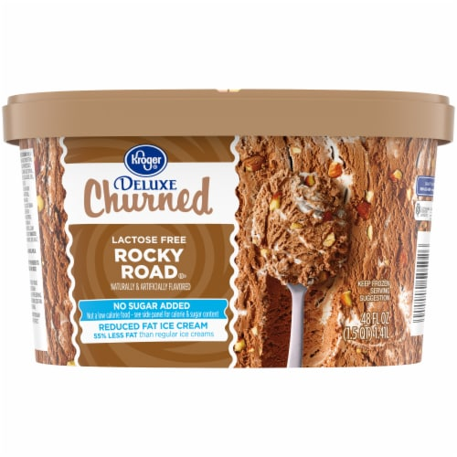 Kroger® Deluxe Churned Lactose Free No Sugar Added Reduced Fat Rocky Road Ice Cream Perspective: back