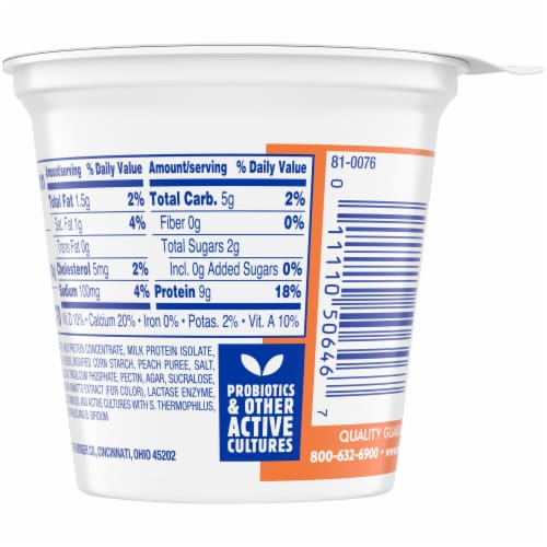 Kroger® CarbMaster® Peach Cultured Dairy Blend Perspective: back