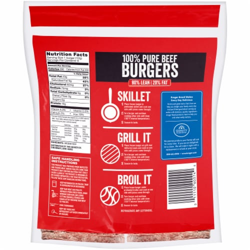 Kroger® 100% Pure Ground Beef Quarter Pound Burgers Perspective: back
