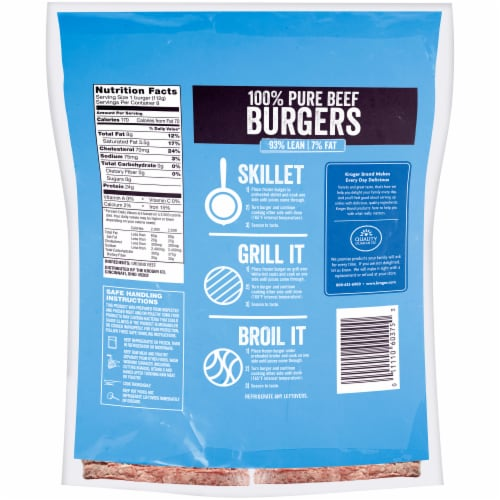 Kroger 93% Lean 7% Fat Frozen Ground Beef Burgers Perspective: back