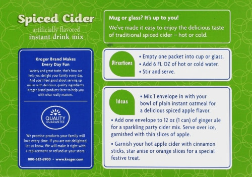 Kroger® Spiced Cider Instant Drink Mix Perspective: back