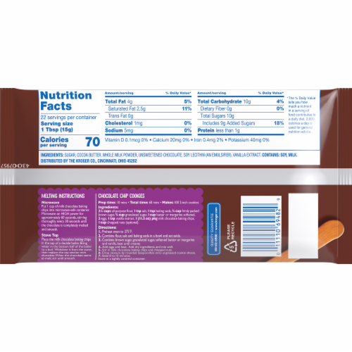 Kroger® Milk Chocolate Baking Chips Perspective: back