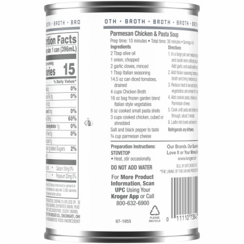Kroger® 99% Fat Free Chicken Broth Perspective: back
