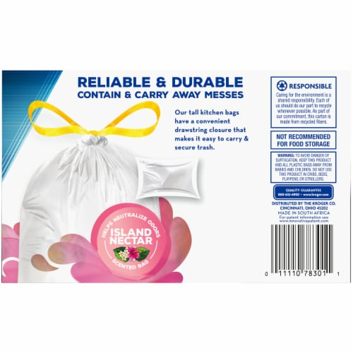 Kroger® Island Nectar Scented 13 Gallon Tall Kitchen Drawstring Trash Bags Perspective: back
