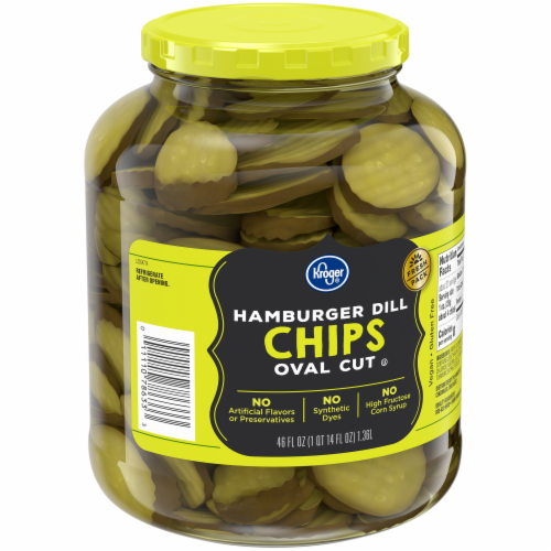 Kroger® Oval Cut Hamburger Dill Pickle Chips Perspective: back