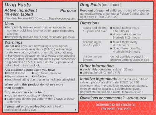 Kroger® Non-Drowsy Nasal Decongestant Tablets 30mg 24 Count Perspective: back