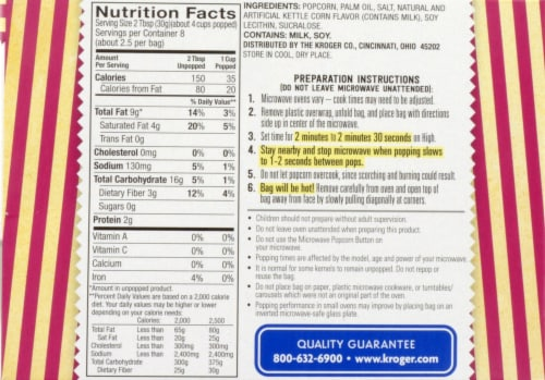 Kroger® Sweet & Salty Kettle Microwave Popcorn Perspective: back