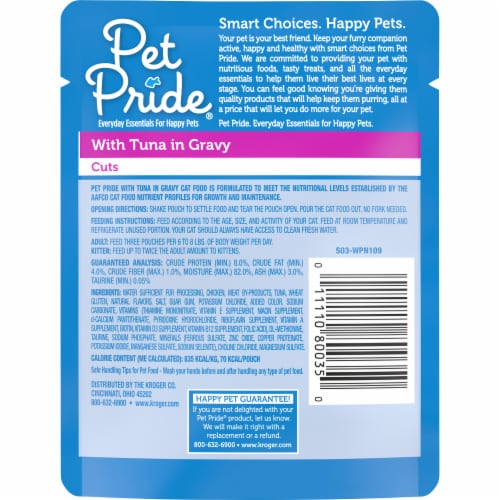 Pet Pride® Tuna in Gravy Cuts Wet Cat Food Pouch Perspective: back
